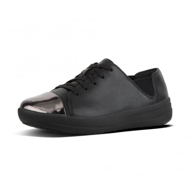 FitFlop F-Sporty™ Mirror-Toe Leather Lace-up Sneakers in Black