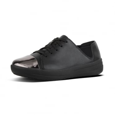 F-Sporty™ Mirror-Toe Leather Lace-up Sneakers in Black