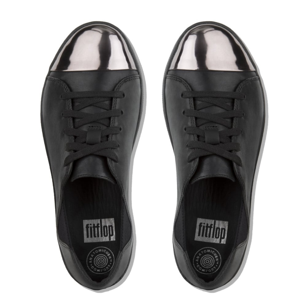 d44bd029af16 F-Sporty™ Mirror-Toe Leather Lace-up Sneakers in Black