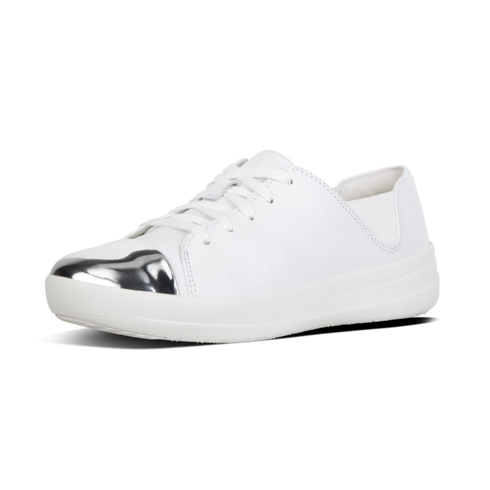 db3674a2d3cf1 F-Sporty™ Mirror-Toe Leather Lace-up Sneakers in Urban White