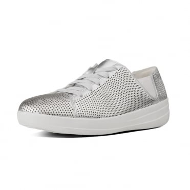 F-Sporty™ Perf Leather Lace-up Sneakers in Silver