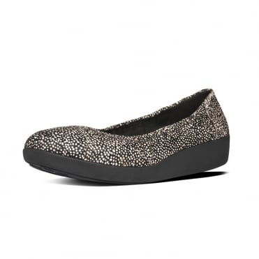 FitFlop FF2™ F-Pop™ Ballerina Ladies Shoes in Black Mix Pony Effect Finish