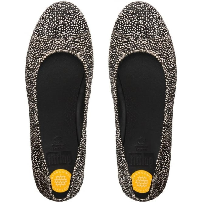 FitFlop FF2™ F Pop™ Ballerina Ladies Shoes in Black Mix Pony Effect Finish