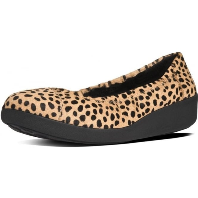 FitFlop FF2™ F-Pop™ Ballerina Ladies Shoes in Cheetah Leopard Print Pony Effect Finish