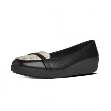 FitFlop FF2™ F-Pop™ Loafer in Black Leather and Lizard Mix