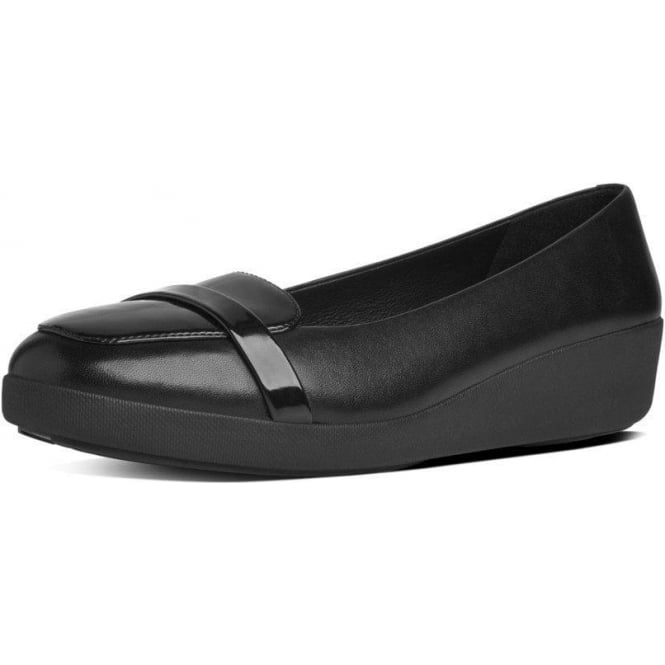 FitFlop FF2™ F-Pop™ Loafer in Black Leather and Patent Mix