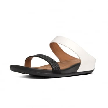 FitFlop™ FF2™ Banda™ Slide In Black And White Leather