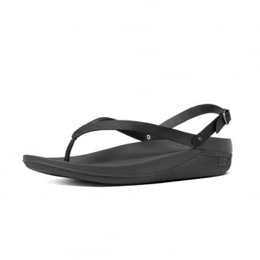 Flip™ Leather Back-Strap Sandals in All Black