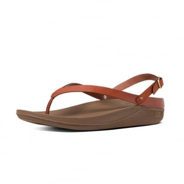 FitFlop Flip™ Leather Back-Strap Sandals in Dark Tan