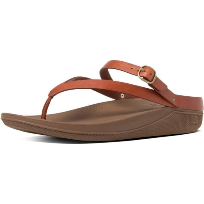 053a03590 FitFlop FitFlop Flip™ Leather Back-Strap Sandals in Dark Tan