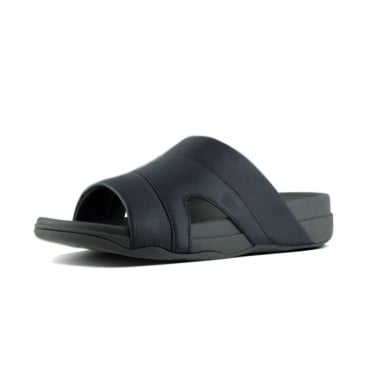 Freeway™ Leather Pool Slides in Black