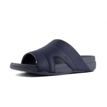 Freeway™ Leather Pool Slides in Supernavy