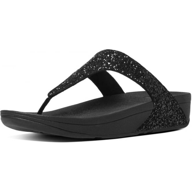 FitFlop Glitterball™ Toe-Post Sandals in Black