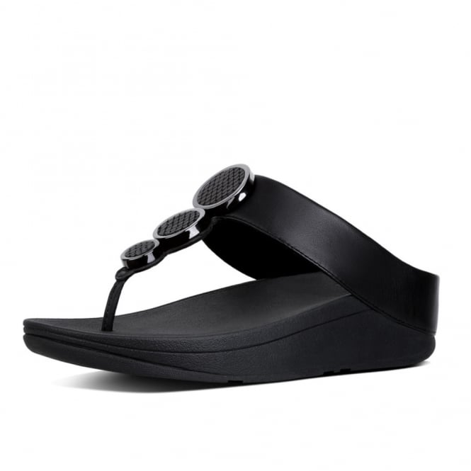 FitFlop Halo™ Leather Toe-Post Sandals in Black