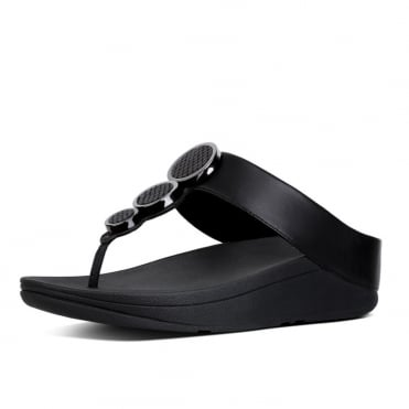 Halo™ Leather Toe-Post Sandals in Black