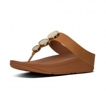 aaa57db0944e0 Halo™ Leather Toe-Post Sandals in Caramel