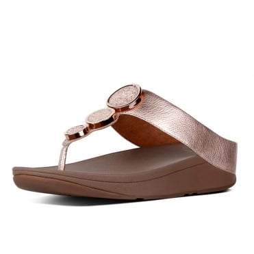 Halo™ Leather Toe-Post Sandals in Rose Gold