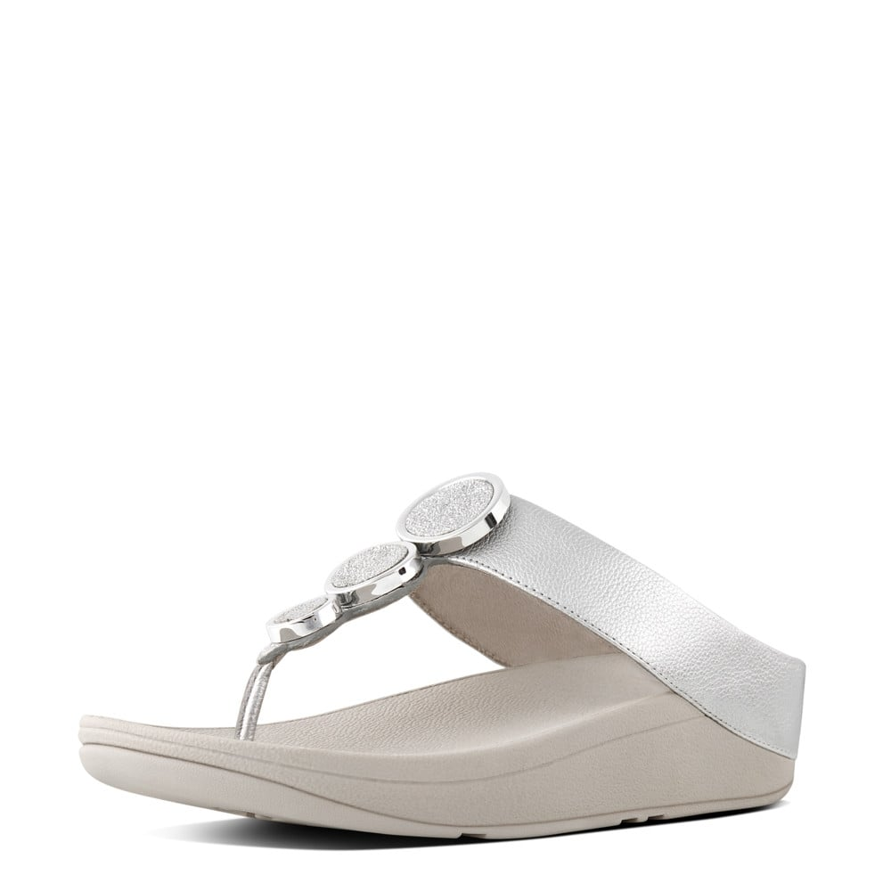 8319dfc61db5 Halo™ Leather Toe-Post Sandals in Silver