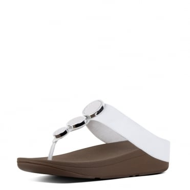 Halo™ Leather Toe-Post Sandals in Urban White