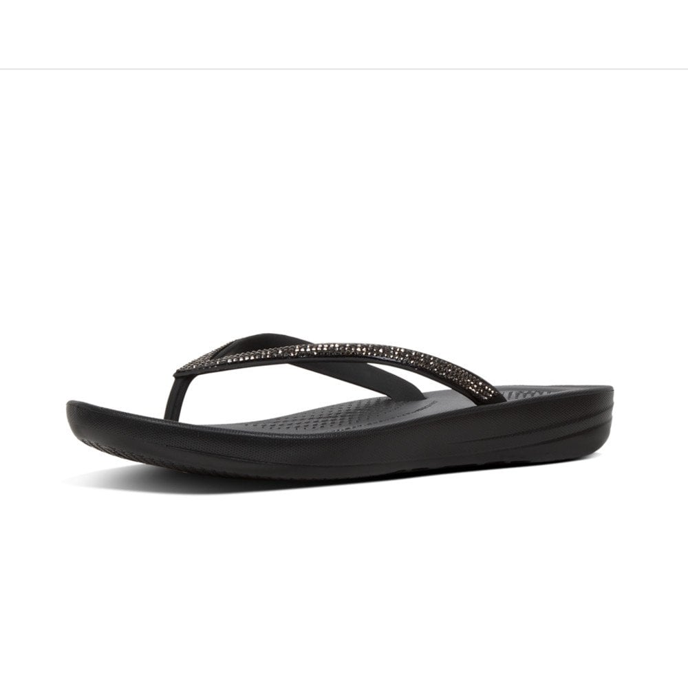 7a688b7e3393 Iqushion™ Sparkle Ergonomic Flip Flops in Black