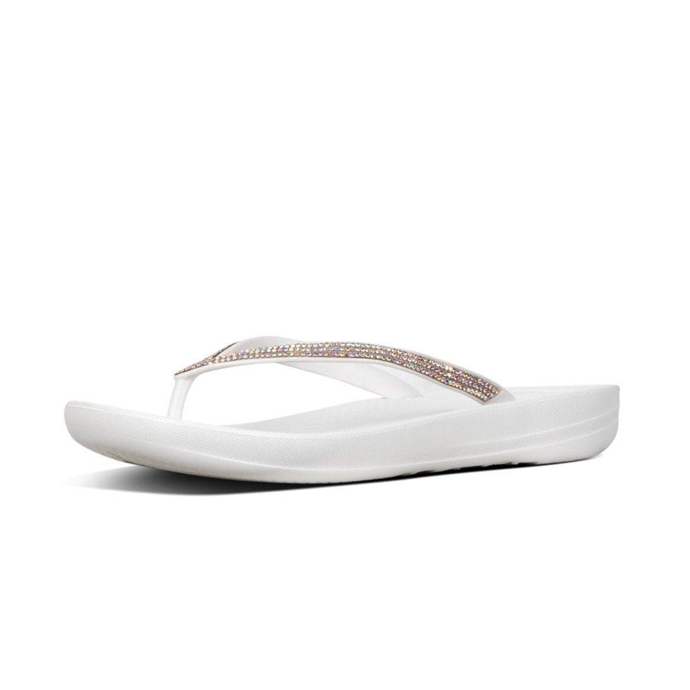 5fcd20cf6d1c Iqushion™ Sparkle Ergonomic Flip Flops in Urban White