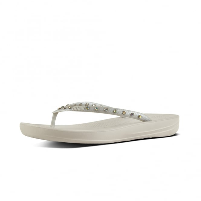 FitFlop Iqushion™ Super-Ergonomic Flip Flops - Crystal in Silver