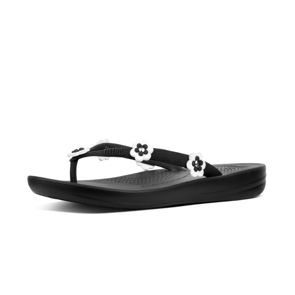 edd0c39f57b8d Iqushion™ Super-Ergonomic Flip Flops - Flower Stud in Black