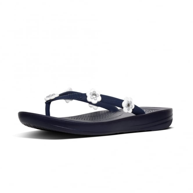 FitFlop Iqushion™ Super-Ergonomic Flip Flops - Flower Stud in Midnight Navy Mix
