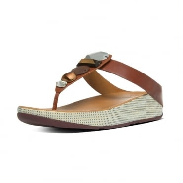 Jeweley™ Women's Leather Toe Post Sandals With Jewels in Dark Tan