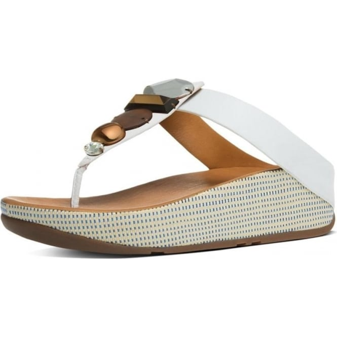 6ad085d82 Jeweley™ Women  039 s Leather Toe Post Sandals With Jewels in Urban White