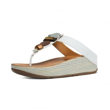 Jeweley™ Women's Leather Toe Post Sandals With Jewels in Urban White