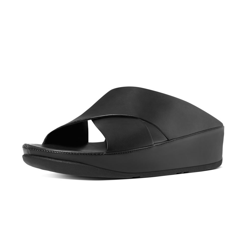 Fitflop Kys Leather Slide Sandals In All Black Mozimo