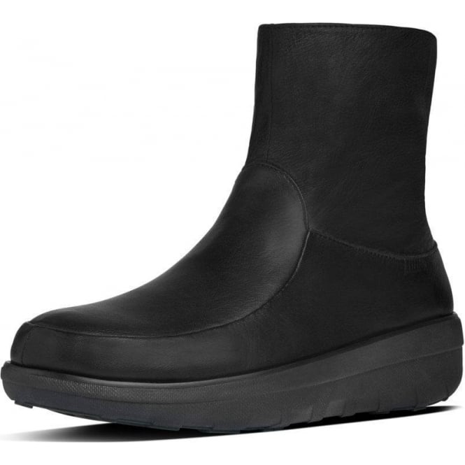 FitFlop Loaff™ Shorty Zip Boot in All Black Leather