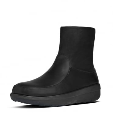 Loaff™ Shorty Zip Boot in All Black Leather