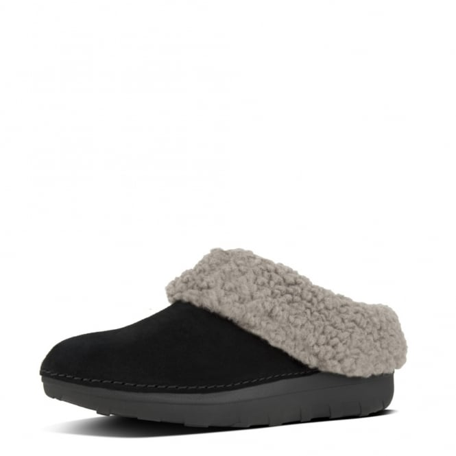 FitFlop Loaff™ Snug Suede Slippers In Black