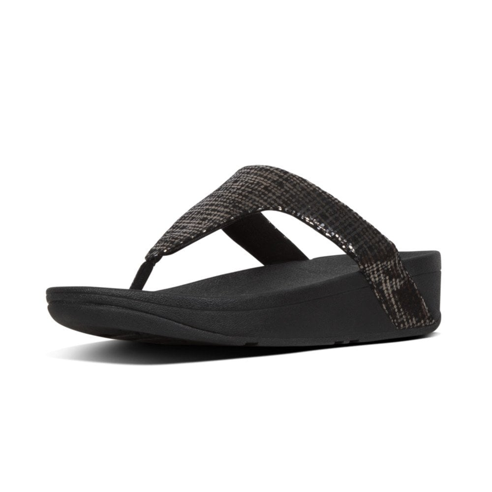5edd84ceb Lottie™ Chain Print Suede Toe-Post Sandals in Black