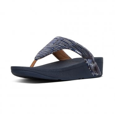 df4a14806188 Lottie™ Chain Print Suede Toe-Post Sandals in Midnight Navy