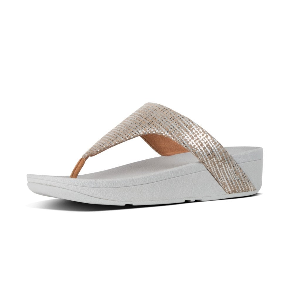 cf4de9791 Lottie™ Chain Print Suede Toe-Post Sandals in Silver