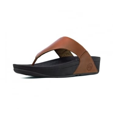 Lulu™ Leather Flip Flops in Toffee Tan