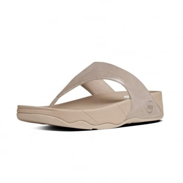 FitFlop Lulu™ Shimmersuede Toe Post Sandal in Nude