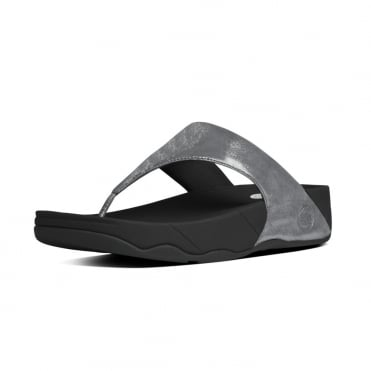 FitFlop Lulu™ Shimmersuede Toe Post Sandal in Pewter
