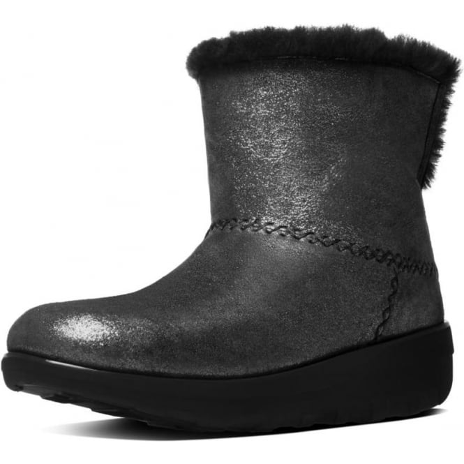 FitFlop Mukluk Shorty II™ Pull On Shearling Suede Boots in Black Shimmer