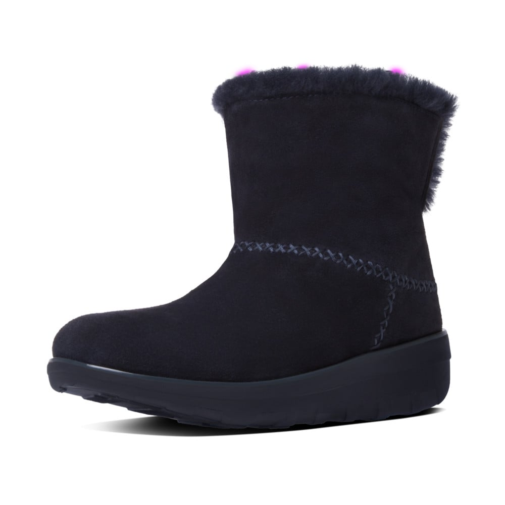 fitflop mukluk shorty ii supernavy suede pull on boots