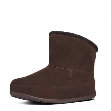 Mukluk Shorty Pull On Shearling Boots in Dark Brown Suede