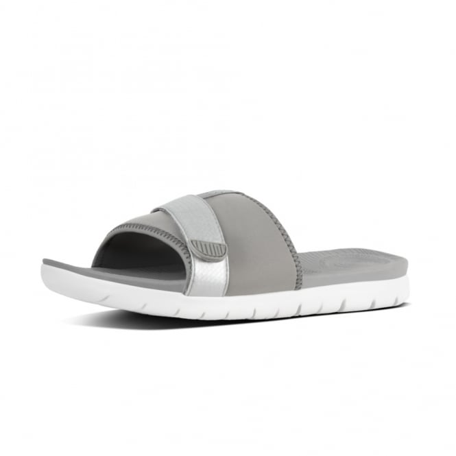 FitFlop Neoflex™ Slide Sandals in Soft Grey-Silver