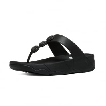 FitFlop Petra™ Sugar Toe Post Sandal In Black leather with glittery gems