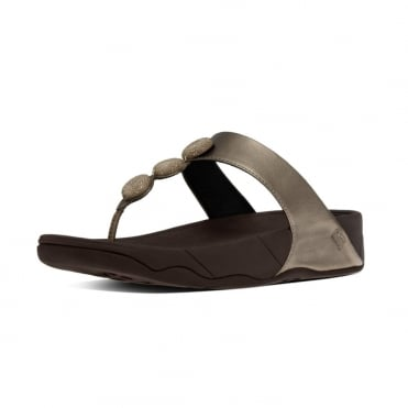 FitFlop Petra™ Sugar Toe Post Sandal In Bronze leather with glittery gems