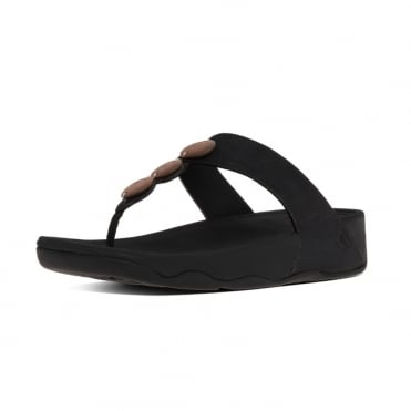 FitFlop Petra™ Toe Post Sandal In Black with decorative stones