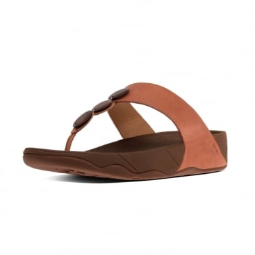 FitFlop Petra™ Toe Post Sandal In Dark Tan with decorative stones