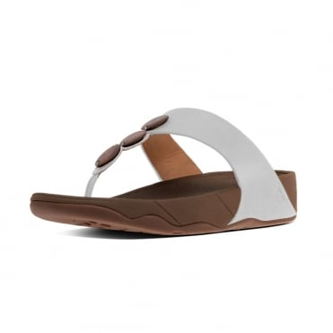 FitFlop Petra™ Toe Post Sandal In Urban White with decorative stones